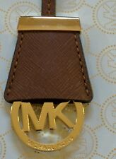 MICHAEL KORS GOLD MK LOGO CHARM / LUGGAGE BROWN SAFFIANO LEATHER HAND TAG FOB