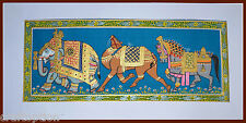 Original Miniature Painting of Decorated Elephant, Camel, Horse on Silk Cloth
