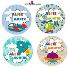 PERSONALISED BABY MONTHLY AGE MILESTONE STICKERS 13 TRANSPORT  VEST BABYGROW