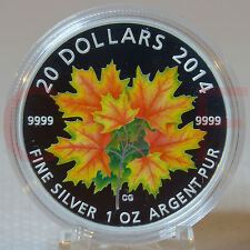 2014 Canada Glow-In-The-Dark Maple Leaf on Autumn Leaves  $20 Pure Silver Coin