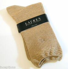 Ralph Lauren Ladies Cotton Blend Crew Socks Woven Rib Hemp - NEW