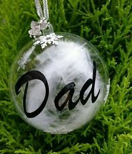 PERSONALISED REMEMBERANCE BAUBLES. CHRISTMAS. ANGEL FEATHERS