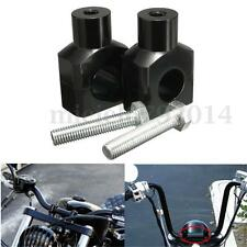 "Black 1"" 25mm Billet Handlebar Risers For Harley Custom Springer Bobber Chopper"