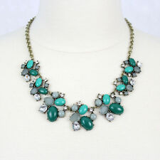 Green Necklace Cabochon Rhinestone Flower Bib Necklace Floral Statement Necklace