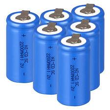 Lot of 6PCS Rechargeable Battery Sub C SC 1.2V 2200mAh Ni-Cd Batteries Blue