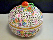 HEREND Hungary Hand Painted Pierced Reticulated Strawberry Top Bon Bon Box Bowl