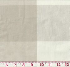 Large Check P Kaufmann Drapery Upholstery Fabric Call Me Dune Beige and White