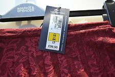 £39.50 NEW MARKS AND SPENCER lace burgundy LINED SKIRT SIZE 16