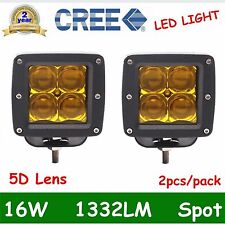 Pair 16W CREE LED Work Light Offroad Driving 5D Lens Cube Pods Spot Lamp Yellow