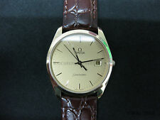 Gents Omega Seamaster Gold Plate Leather Strap Champagne Dial #982