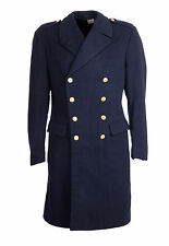 "Vintage Wool Military Nordic Trench Double Breasted Great Coat 38-40"" Navy Blue"