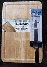 CUISINART SET of 2: SLICING KNIFE & WOOD CARVING BOARD SLICE MEAT POULTRY CHEESE