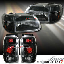 1998-2001 Ford Explorer Headlights w/ Corners w. Tail lights (Black style) combo