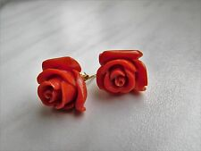 GOLD 750/18k, Italia vintage rose corallo orecchini a perno, coral earrings