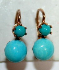 ANTIQUE FRENCH VICTORIAN R 18k GOLD TURQUOISE 2 STONE FINE SMALL EARRINGS c 1900