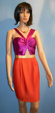 womens orange/purple sleeveless size 10 strappy Boho zip up party dress