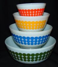 Pyrex DOTS *4 PC ROUND MIXING BOWL SET* GREEN* BLUE* YELLOW* ORANGE*