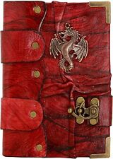 Dragon Emblem Pendant Red Handmade Leather Journal Notebook Sketchbooks Dairy