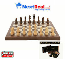 "Dal Rossi Italy Premium Chess Set 12"" Walnut Inlaid Folding Box & Piece Bags"