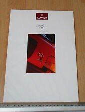 1991 Rover Cars Complete Range Catalogue