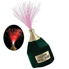NEW YEARS EVE Fiber Optic Light-up HAPPY NEW YEAR Champagne Bottle Novelty Hat