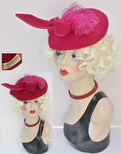 Vtg. 1940s Stetson Apple Red Wool Felt Tilt Top Ladies Hat with Wing & Feather