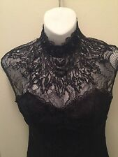 Bebe High Neck Open Back Lace/ Sequin Top Xs