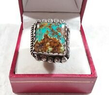 VINTAGE SIGNED R NAVAJO 925 STERLING DISTINCTIVE BEADED TURQUOISE SIZE 6  RING