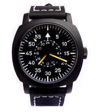 SUPERB Aviator Pilot Black 45mm Military Army Vintage Steel Boat Watch Sub TW U