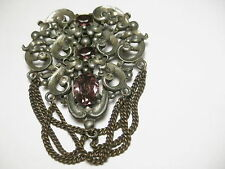 Vintage early 1900's Doctor Dress Dress Clip, purple and clear stones, chain swa