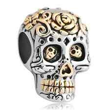 Fashion Skull Flower Halloween Charms Jewelry Beads Pandora Charm Bracelet Gifts