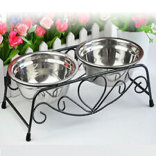 Double Stainless Steel Bowls Dog Cat Pet Food Water Feeder Dish Retro Iron Stand
