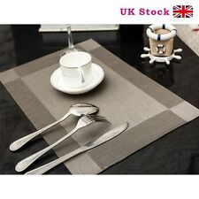 Set of 4 Vinyl Dining Table Place Mats Placemats Pad Weave Woven Effect Modern
