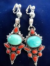 Nepal Turquoise Coral Sterling Silver Earrings