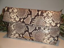 MICHAEL KORS DARIA FOLD OVER CLUTCH BAG SNAKE MK EMBOSSED LEATHER NATURAL $228