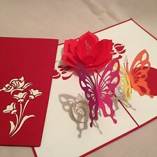 POP UP card - flower & 2 x butterfly (birthday, thank you, Easter, blank)