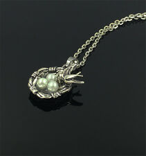 1pcs Bird Nest Necklace Charm Pendant Antique Tibet Silver Love Family Gift  Q3