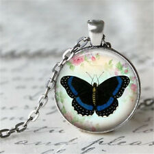 1pcs Vintage butterfly Cabochon Silver plated Glass Chain Pendant Necklace #1