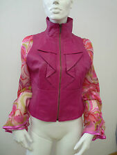 LULU & RED SEXY PINK SHORT LEATHER JACKET       UK 12    BNNT