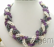 N0903040 6Strds Pearl&Natural Amethyst Necklace-Cameo Flower Clasp