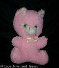 "11"" VINTAGE PINK KITTY CAT WIND UP MUSICAL STUFFED ANIMAL PLUSH TOY LOVEY BROKEN"