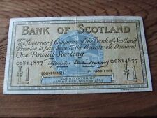 SCOTTISH.  BANK  OF SCOTLAND ISSUE.   ONE POUND NOTE.  1955   NICE CONDITION.