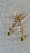 Earrings Peridot with round Briolet and Diamonds Accents