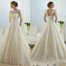 UK 2016 White/Ivory long Sleeve lace wedding dress bridal Gown Custom made