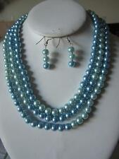 Blue Mix Glass Faux Pearl Long Necklace Earring Set