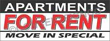 3'X8' APARTMENTS FOR RENT BANNER Outdoor Sign LARGE Move In Specials Rentals
