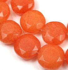 15x15mm  Orange Tangerine Jade Faceted Coin Beads (12)