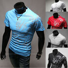 Stylish Men's Slim Fit Casual Dragon Tattoo Printed Round Neck T-Shirt Tee Tops