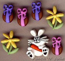 Bunny HOP-Cioccolato Pasqua Uovo Bunny Coniglio Carota Dress IT UP Pulsanti Craft