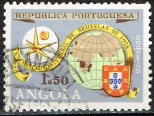 Angola Portuguese Colonial Empire world map Brussels World Fair old stamp 1957